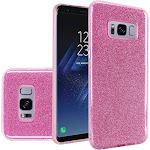 insten Glitter Hard Plastic/Soft TPU Rubber Case Cover For Samsung Galaxy S8, Pink