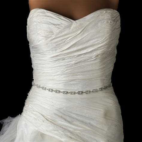 * Silver Clear Rhinestone Square Pattern Wedding Sash Belt