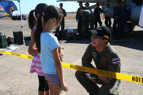 Royal Thai Airforce pilot has a chat