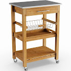Porch & Den Ramsey Bamboo Kitchen Cart with Stainless Steel Top