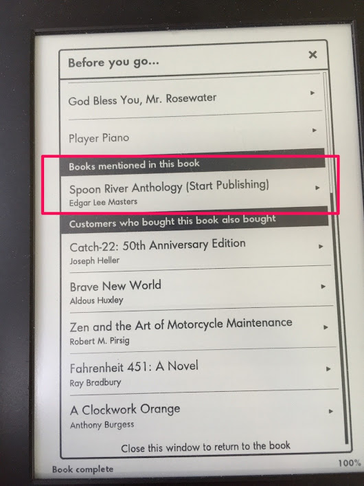 Design Dabbling — Upon finishing a book, Kindle displays links to...