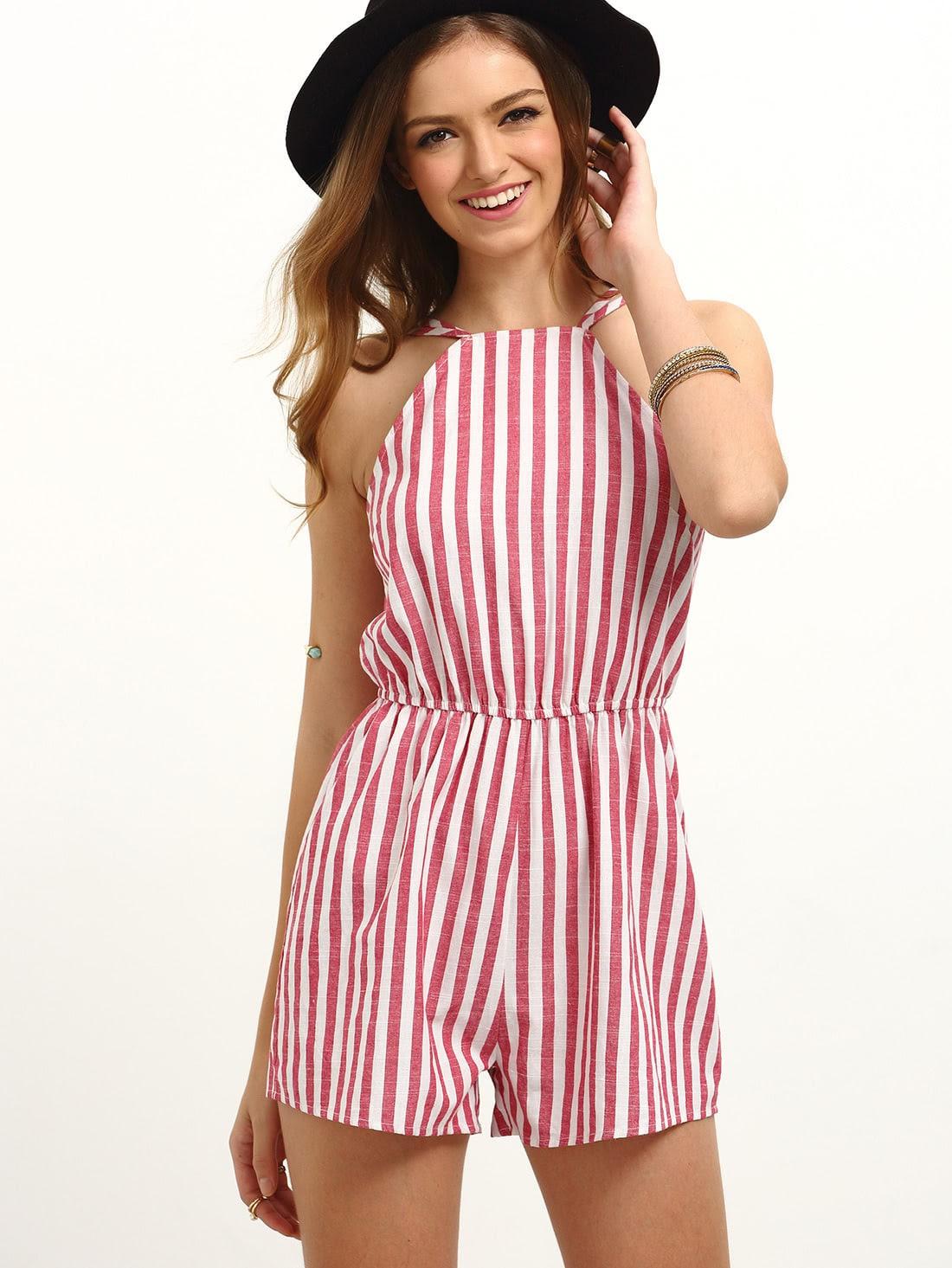 Striped Sleeveless Jumpsuits