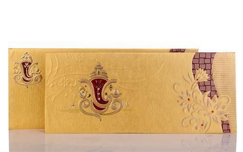 Ganesha Wedding Card In Bright Golden & Maroon Colour
