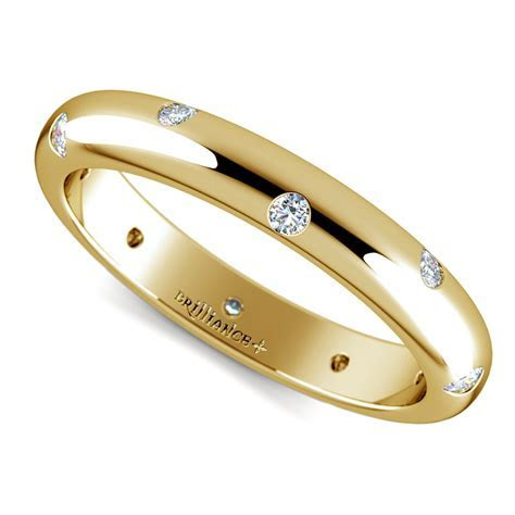 Inset Diamond Wedding Ring in Yellow Gold (3mm)