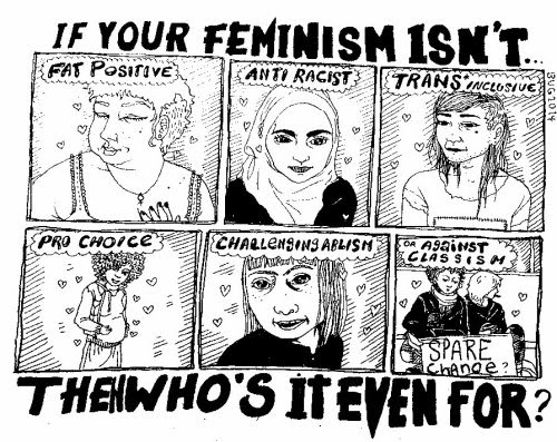 centipedes:sharing another comic sample I did applying to work for that feminist magazine — I spelt ableism wrong eeeep.