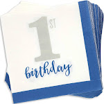 Juvale 100-Pack Bulk 2-Ply Boys 1st Birthday Paper Luncheon Napkins, 6.5 x 6.5 Inches