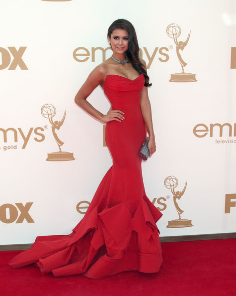 Nina Dobrev Celebrities arriving at the 63rd Primetime Emmy Awards held at the Nokia Theatre in Los Angeles, CA.