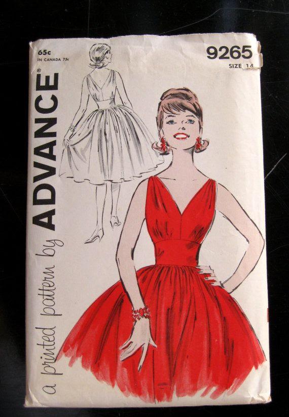 1960s V Neck V Back Evening Dress Pattern Bust 34 by QuiltCitySue, $35.00