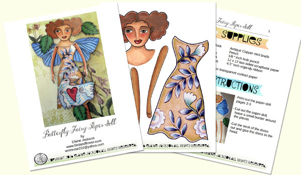 butterfly fairy tutorial printable paper-doll by elaine jackson wrenrose designs