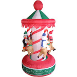 6.5' Inflatable Animated Christmas Carousel Lighted Yard Art Decor
