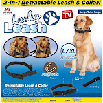 Lucky Leash 2n1 Retractable Leash & Collar- Large/X-Large