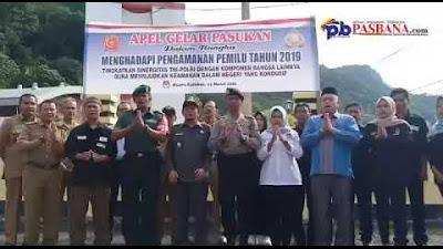Apel Gelar Pasukan Menghadapi Pengamanan Pemilu 2019 di Kota Sawahlunto