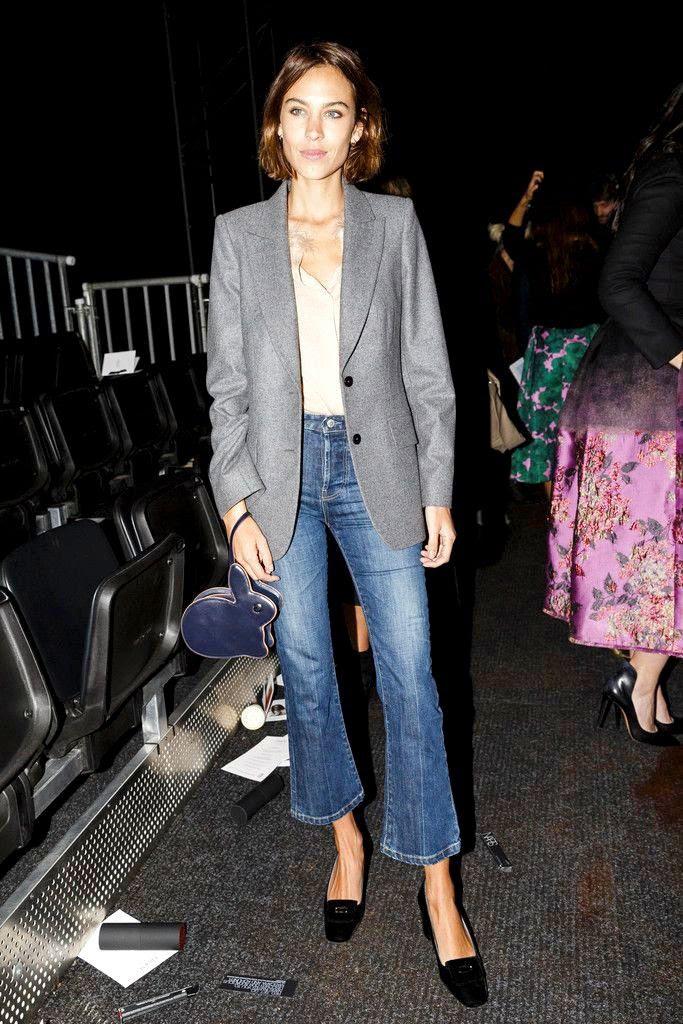 Le Fashion Blog Alexa Chung Cropped Flared Denim Short Hair Grey Blazer Nude Button Down Shirt Hillier Bartley Bunny Bag SS16 Front Row Via Harpers Bazaar Spain
