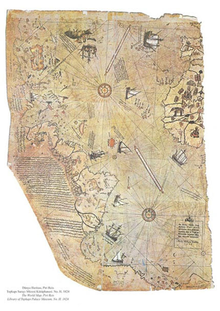 Map of the world by Ottoman admiral Piri Reis, drawn in 1513