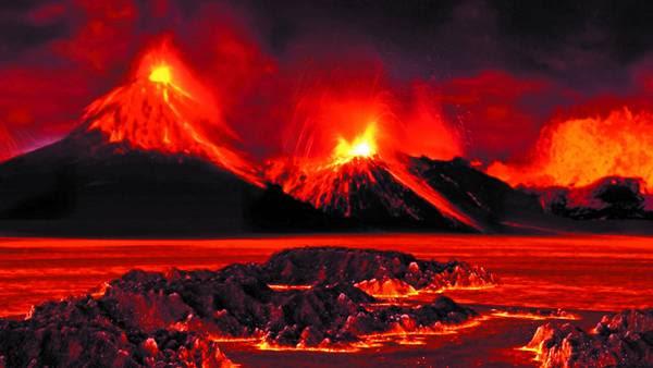 Recreación. Un paisaje que recrearon científicos del MIT para mostrar cómo estaba el planeta en el momento de la extinción. Hubo erupciones volcánicas letales en lo que hoy es Rusia: emanaron un exceso de dióxido de carbono. MIT