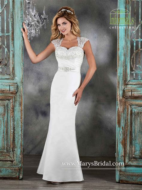 Marys Bridal 2579 Satin Queen Anne Neckline Cutout Back