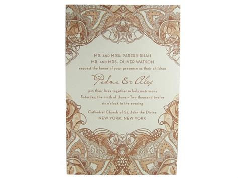 Mehndi Letterpress Wedding Invitation   Digby & Rose