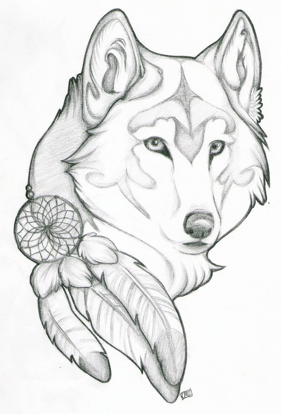 Dreamcatcher Wolf Head Tattoos Design