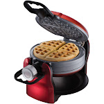 Oster DuraCeramic Titanium Infused Double Flip Waffle Maker, Red