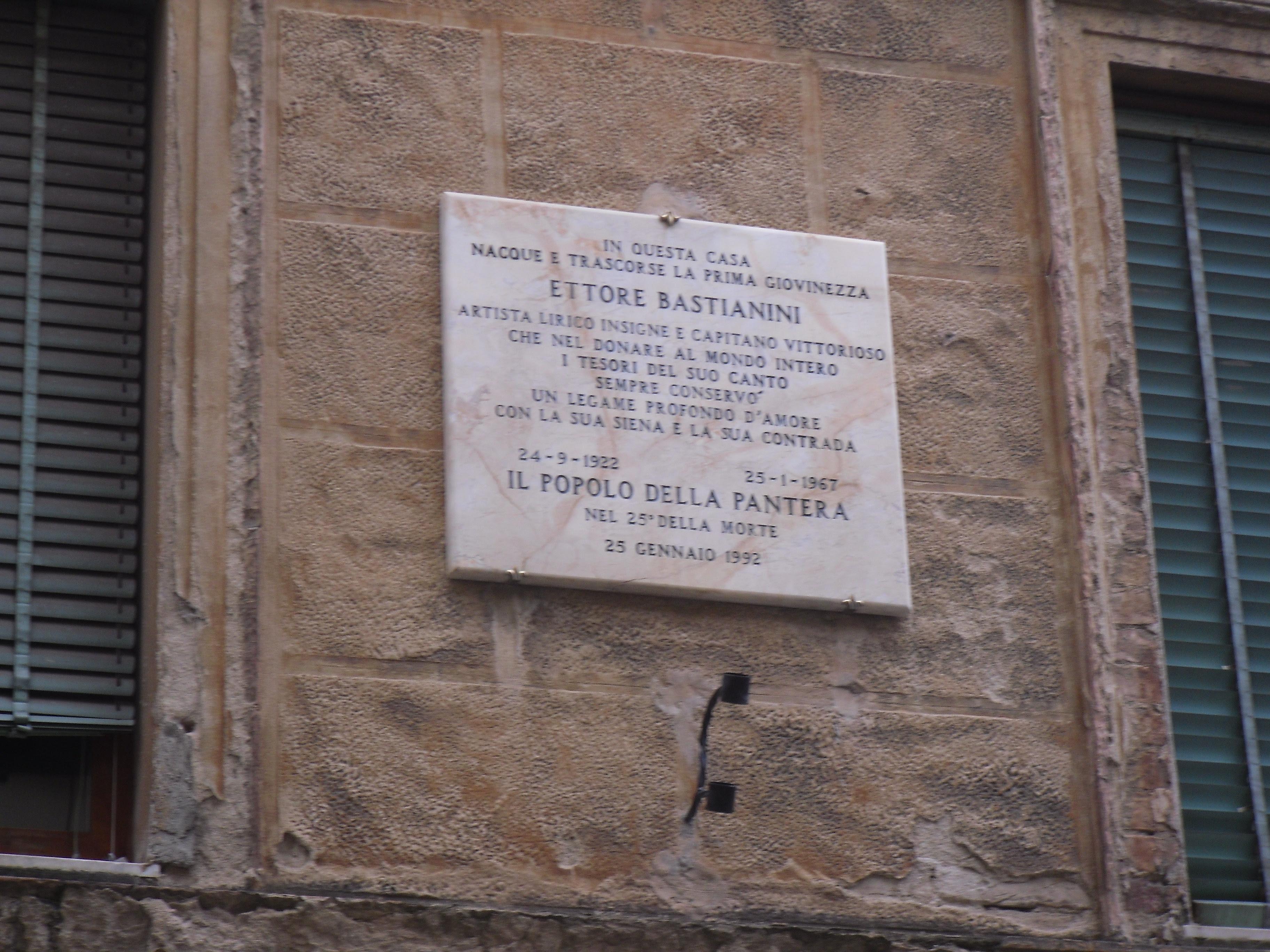 Memorial plaque for baritone Ettore Bastianini in the contrada pantera in Siena