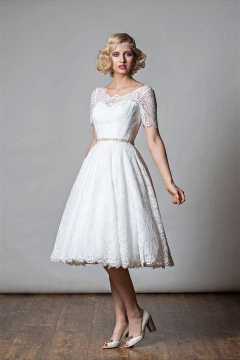 1068 PENNY Tea Length Short Wedding Dress 1920s Vintage