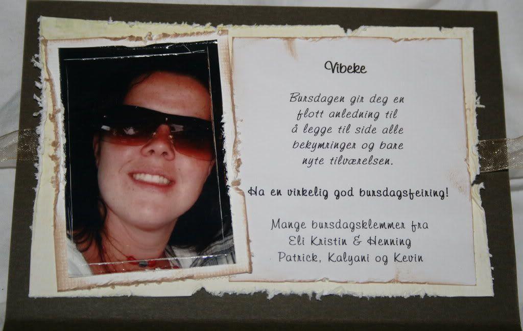 Nærbilde av Vibeke og noen ord til henne!