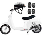 Razor Pocket Mod Miniature Euro Electric Retro Scooter, White + Helmet/Pads
