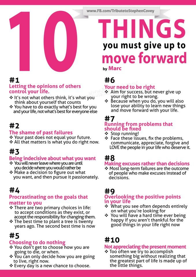 INFOGRAPHIC: 10 Things You Must Give Up To Move Forward