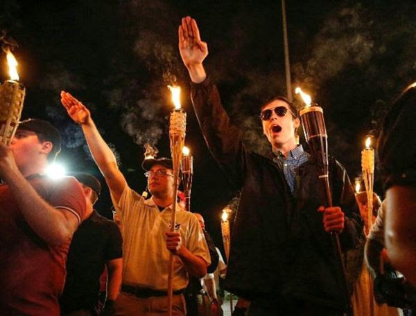 More Neo-Nazi scumbags march in Charlottesville, Virginia on the night of August 11, 2017 (Pacific Time).