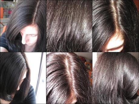 Schwarzkopf Perfect Mousse 465 Schokobraun. Ganz links im Schatten, mitte und rechts in der Sonne