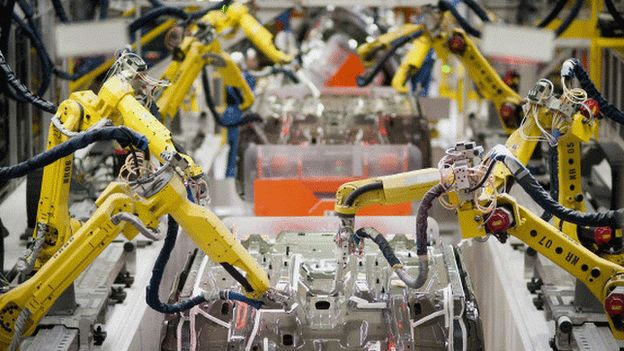 Robot arms in factory