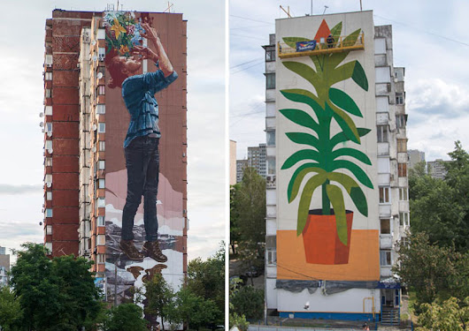 "Fintan Magee and Agostino Iacurci ""Water Please"" for Mural Social Club Festival in Kiev : Brooklyn Street Art"