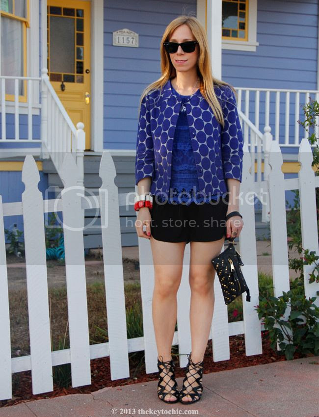 Marni at H&M blue polka dot jacket, Prabal Gurung for Target black lace-up heels, Target Style, Los Angeles fashion blogger, Swirl Design Studio initial personalized pendant necklace