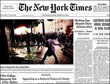 Portada del NY Times sobre la huelga general