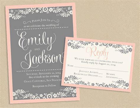 Printable Wedding Invite and RSVP Invitation Set   Blush