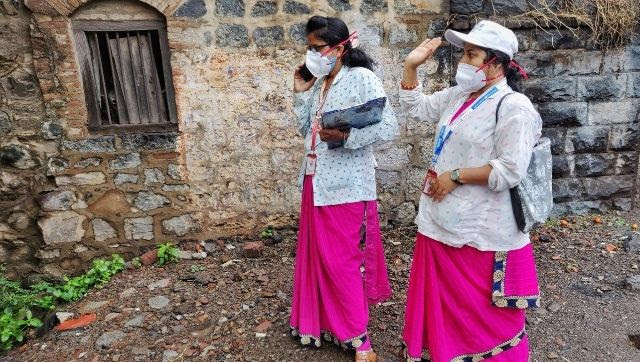 ASHA workers Maya Patil and Netradipa Patil bid goodbye to Sabina after spending over two hours with her.