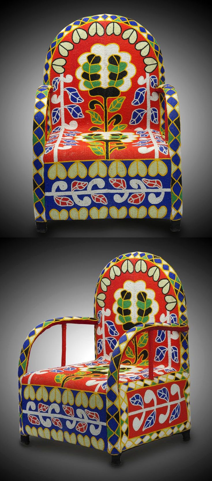 Africa | Chair from the Yoruba people of Nigeria | Strong and heavy wooden frame chair, with glass hand beaded textile cover