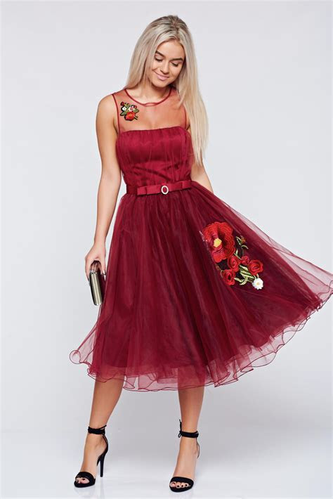 Artista elegant burgundy dress with push up cups and