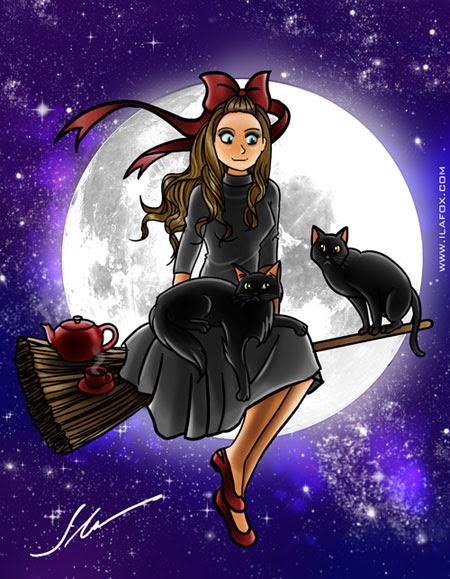 ilustração de dia das bruxas kiki delivery service by ila fox