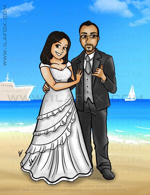 Caricatura casal, noivos, corpo inteiro, colorido, casal, praia, caricatura para casamentos, ilustração by ila fox
