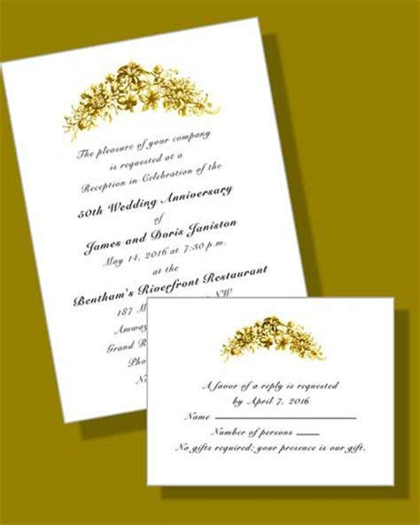 50th Anniversary Invites   Golden Floral Invitations (Item