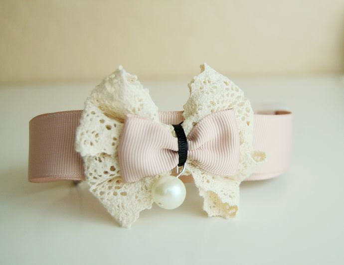 Soft pink collar for pet, Beautiful wedding dog collar, dog fashion,Ivory white lace collar for dog
