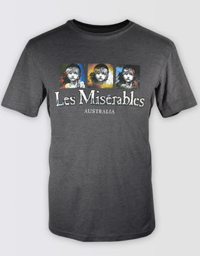 Les Miserables Australia Unisex Grey 3 Panel Tee
