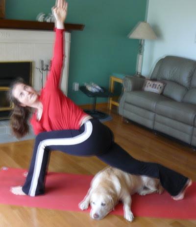 Helping Laura do Yoga