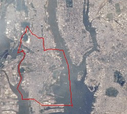 Image of Jersey City taken by NASA. (The red l...