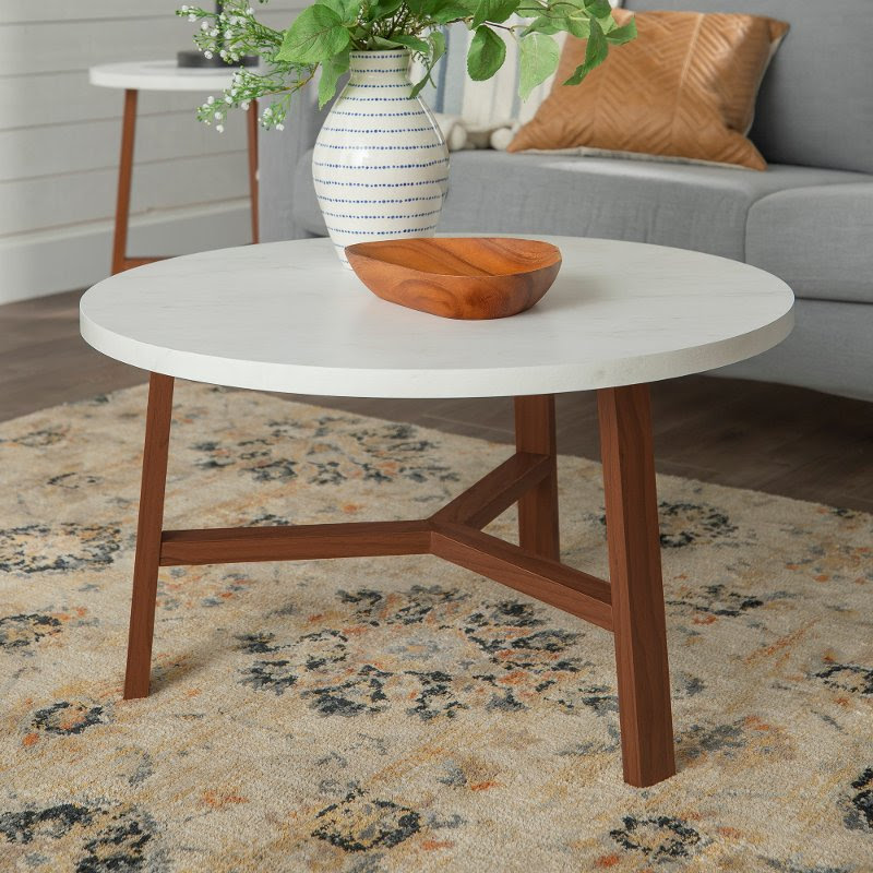 Mid Century Modern Round Coffee Table White Marble Acorn Rc Willey Furniture Store