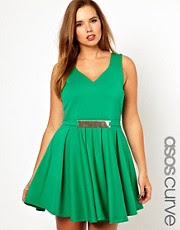 ASOS CURVE Skater Dress With Gold Belt