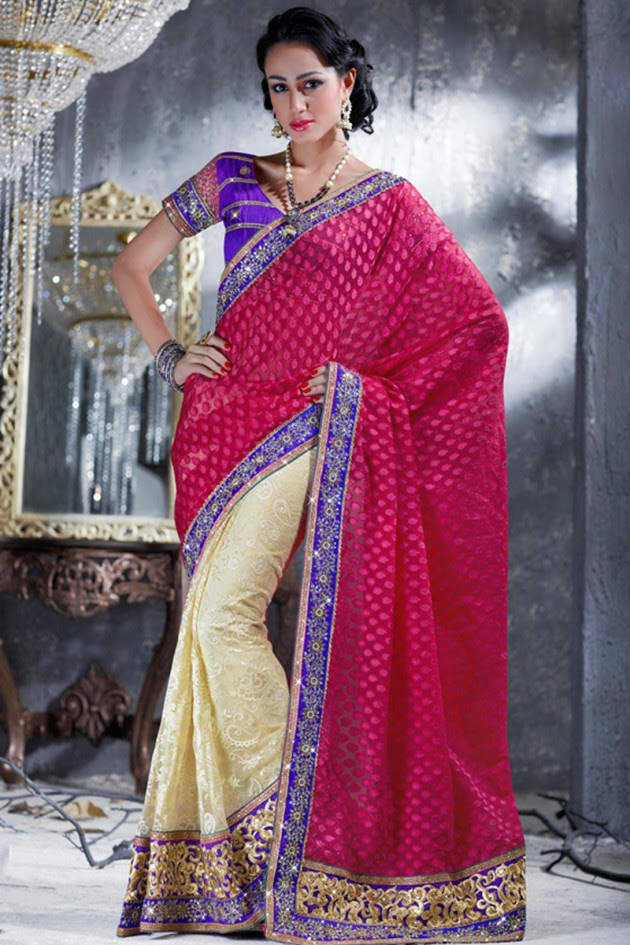 Indian-Brides-Bridal-Wedding-Party-Wear-Embroidered-Saree-Design-New-Fashion-Reception-Sari-12