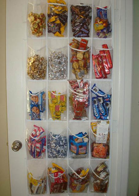old hanging shoe rack into pantry organizer