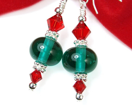 Green Christmas Earrings with Red Crystals Lampwork by PrettyGonzo